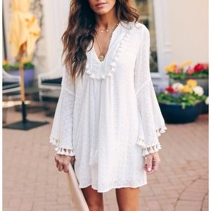 Vici Dresses - Vici stranded embroidered tassel tunic white new S
